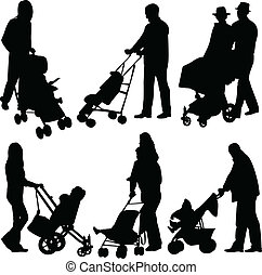 People with babies in stroller - vector