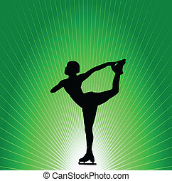 Figure skater on green background - Figure skater on the...