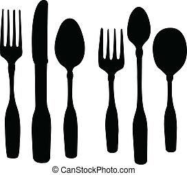 cuillère, couteau, fourchette