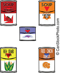 retro cans of soup - cans of soup in retro style with...