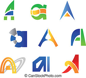 Letter A symbols - Set of alphabet symbols and icons of...