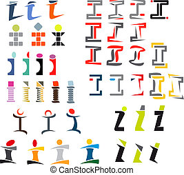 Alphabet letter I - Set of alphabet symbols and elements of...