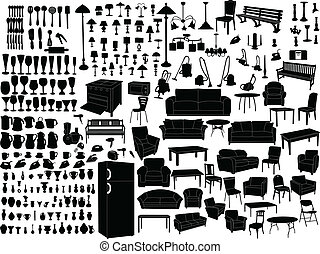 Household items silhouette - vector