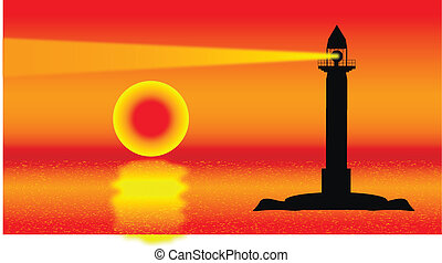 Seascape with lighthouse at sunset - vector illustration .