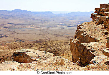 View of Negev Desert - Cliff over the Ramon Crater in Negev...