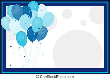 Its a Boy - Pastel frame with Balloons and dots for Baby...