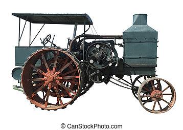 oil pull tractor ran on kerosene on a white background