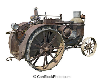 old rusty steam tractor