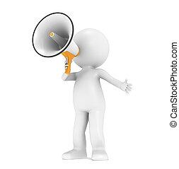 3d little human character with a megaphone - 3d little human...