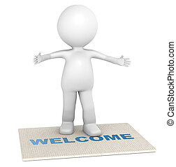 Welcome - 3D little human character giving a warm welcome