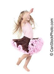 Little girl in studio - Shot of little girl with long blond...