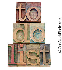to do list headline in letterpress type - to do list - task...