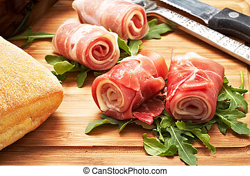 raw ham - italian raw ham rolled with cheese and mozzarella