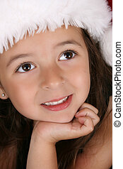 Christmas Girl - Beautiful little brunette girl dreaming...