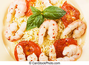 Shrimps with cooked rice
