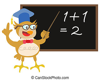owl teacher with blackboard
