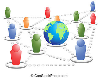social net world - symbol people in the social net world