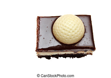 Golf dessert - Chocolate and vanilla layered golf dessert on...