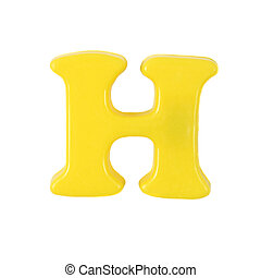 Letter H - Plastic yellow letter H on a white background