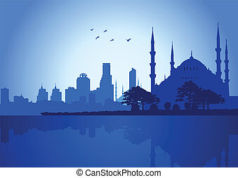 Istanbul - Silhouette Illustration of Istanbul skyline