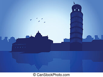 Pisa - An illustration of Pisa (Italy) skyline with it\'s...