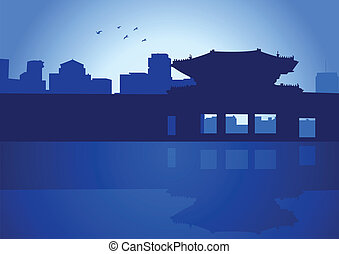 Seoul - An illustration of Seoul skyline with its Royal...