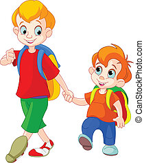Back to school - Illustration of two brothers go to school