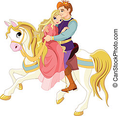 Romantic couple on white horse - Prince and princess on...