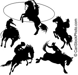 Cowboys - Cowboys on horses silhouettes on a white...