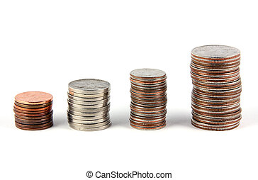 Financial Gain - Four stacks of coins (pennies, nickles,...