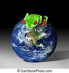 Eco-friendly earth - A red-eyed tree frog sits on top of the...