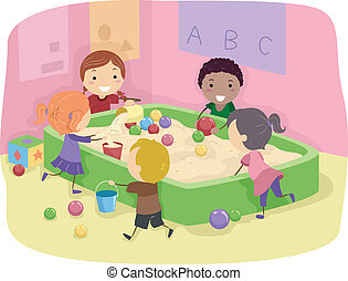 Sand Box - Illustration of Kids Playing with a Sand Box