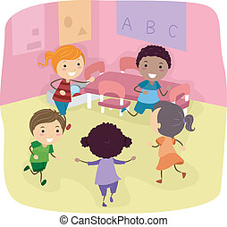 Playtime - Illustration of Kids Playing in a Classroom