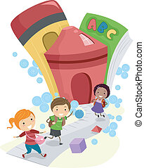 Going to School - Illustration of Kids Going to School