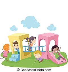 Playground - Illustration of Kids Playing in a Playground
