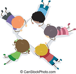 Kids Paper - Illustration of Kids Looking at a Blank Piece...