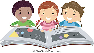 Science Book - Illustration of Kids Reading a Science Book