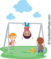 Monkey Bar - Illustration of Kids Playing with a Monkey Bar