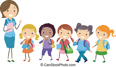 Exclusive School for Girls - Illustration of Students from...