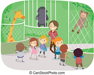 Zoo - Illustration of Kids Observing Animals in a Zoo