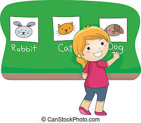 Animal Lesson  - Illustration of a Kid Identifying Animals