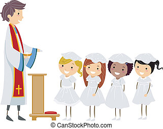 Communion Girls - Illustration of Girls About to Receive...