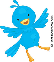 Blue Bird - Illustration of a Cute Blue Bird