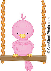 Bird Swing - Illustration of a Bird Perched on a Mini Swing