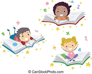 Childrens Books - Illustration of Kids Lying on Books