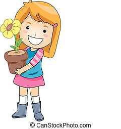Flower Pot - Illustration of a Kid Holding a Flower Pot