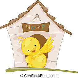 Bird House - Illustration of a Bird Perched Outside His Home
