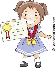 Kid Certificate - Illustration of a Kid Holding a...