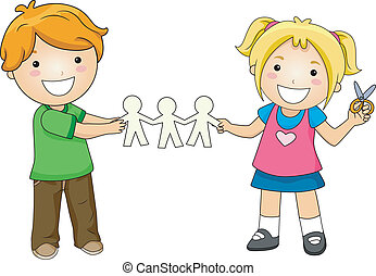Paper Dolls - Illustration of Kids Playing with Paper Dolls