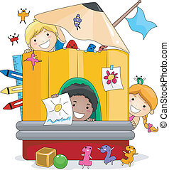 Preschool Kids Playing - Illustration of Kids Playing Inside...